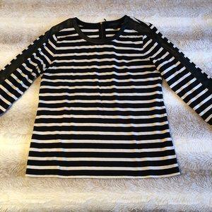 J. Crew | Black & White Stripe Faux Leather Trim